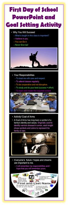 (FREE!) This is a first day of school PowerPoint presentation and goal setting activity.  The goal setting activity has your student's make a coat of arms which will include hobbies and interests, hopes and dreams, people who support you, and how school will help. This is a nice one two lesson bundle to get the year started in a positive direction.