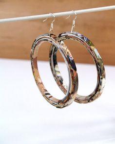 Upcycled paper hoop earrings.