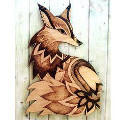 Larger Fox Wall Hanging, Pyrography wood wall hanging, Wood burning, Wall art…
