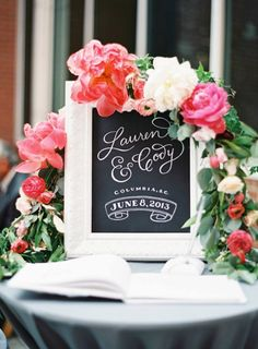 wedding chalkboard ideas - lauren and cody sign for wedding entrance