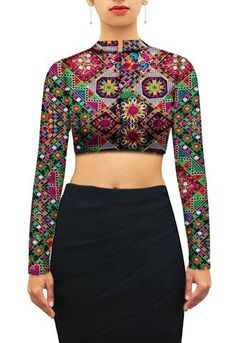 Royal chinese collar kutchwork blouse. Customize further or Design your own now…