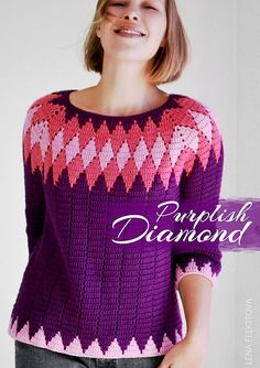 Purplish Diamond sweater is worked seamlessly top down in the round with the right side always facing up. The diamond stitch pattern uses only two of the most basic crochet stitches: double crochet and chains. You will alternate two colors at a time, but use only one color in each round.