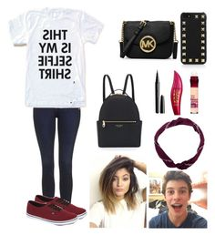 """""""My Selfie Shirt"""" by musicmaniac12 ❤ liked on Polyvore featuring Topshop, Vans, Valentino, MICHAEL Michael Kors, Maybelline, Physicians Formula, Marc Jacobs and Henri Bendel"""