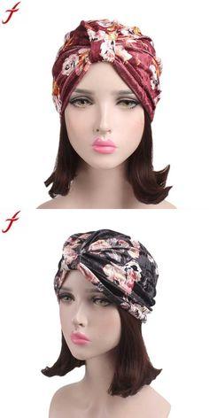 2ca955ad0c875 Hats & Caps · 2018 summer women floral velvet turban hat india muslim  stretch beanie cancer chemo hat beanie scarf