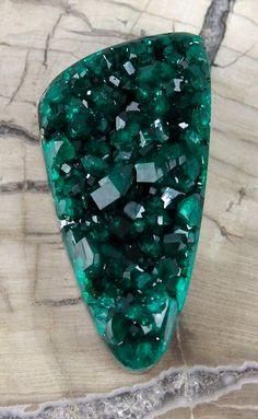 Deep Green Dioptase Drusy Druzy Cabochon