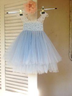 Mágica luz orquídea azul vestido encaje francés y tul vestido para bebé niña vestido azul vestido de princesa vestido de Florista