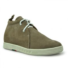 4bf31fe4876b93 Khaki Suede leather leisure and comfortable high heel ankle boots height  increase shoes 2.75 inches 7cm