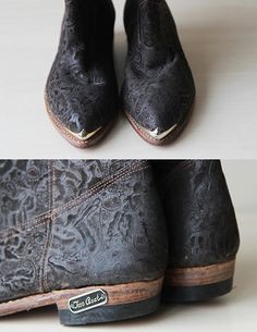 Dark brown tooled leather cowboy boots Sz 6.5 on Etsy, $32.00