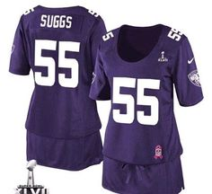 Nike Ravens #55 Terrell Suggs Purple Team Color Super Bowl XLVII Women's Breast Cancer Awareness Stitched NFL Elite Jersey