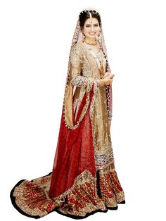 There is nothing more beautiful than a bride wearing traditional red and gold on her wedding day. This gown is lavished with beads, lace, and elegant trim giving any bride a glamourous look on her wed