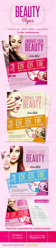 Beauty Flyers #GraphicRiver Beauty Flyers This flyer can be used in any business like beauty,salon,spa etc. Check the Screenshots for a better preview! CMYK Color profile 8.75×11.25 including 0.25 bleed 300 DPI Easy to Edit Organized layers Ready to print 3 Colors Schemes Font Used: Myriad pro : .fonts /font/adobe/myriad Steelfish: .dafont /steelfish.font Prelude: .dafont /preludeflf.font Photos and logo are NOT included,information in the help file. Please don't forget to rate! Created…