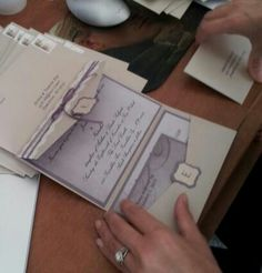 My handmade wedding invites - Pocket part of the invitation is the envelope. . . clever!