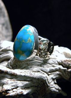 Kingman Turquoise Mens ring in Sterling Silver and by txrockhound, $225.00