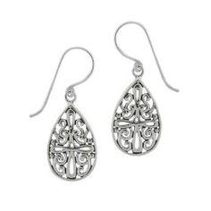 Sterling Silver Celtic Cross Teardrop Earrings, (celtic jewelry, earrings, jewelry, celtic, silver)