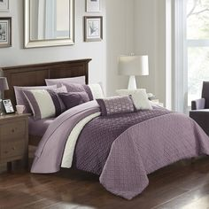 Transform your bedroom with the Shai Comforter Set from Chic Home. Offering understated style, the set boasts an embossed basket weave detail on color-blocked fabrics for a unique look. The super-soft microfiber finish is perfect for a cozy bed. Plum Bedding, Purple Bedding Sets, Twin Comforter Sets, Teen Bedding, King Comforter, Purple Bedspread, Grey Comforter, Bedding Inspiration, Cozy Bed