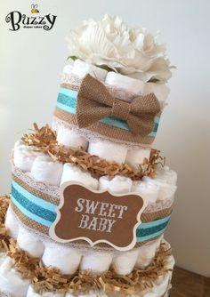 Boy Diaper Cake, Burlap Bowtie Blue 3 Tier Diaper Cake, 3 Tier Diaper Cake, Boy…