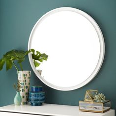 Floating Round Wood Mirror - White   west elm