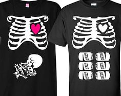 Maternity Halloween T-Shirt Costume Rib Cage and Baby Skeleton and Matching Father To Be Six Pack Beer T-Shirt Couple Set Baby Shower Gift
