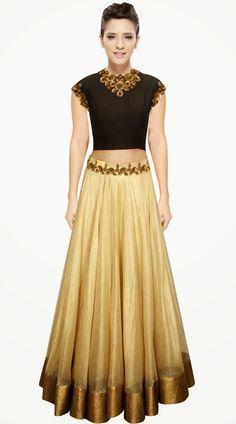 Pretty Golden Cream Cotton Silk Designer Crop Top Lehenga