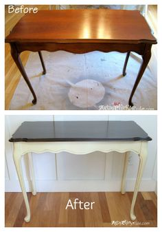 update old wood stained furniture easily quickly, chalk paint, painted furniture, Before I have had the table for about 17 yrs refinished already once by me Recently painted and used PolyShades on the top to darken to a Walnut color
