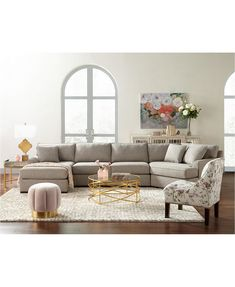 Carena Fabric Sectional Collection, Created for Macy's Sectional Sofa With Chaise, Fabric Sectional, Macys Sectional, Living Room With Sectional, Oversized Sectional Sofa, Oversized Couch, Comfy Couches, Leather Sectional, Living Room Chairs