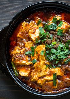 The original Mapo Tofu recipe from the original restaurant in Chengdu. It's made with firm tofu, chili paste, sichuan peppercorn and gound beef.  Enjoy the numbing-spiciness! taotieh.com