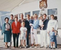 Her Majesty and Her husband, Prince Philip, with Royal Family on board HMY Britannia, August 1985