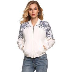 10,29$ Finejo Women Fashion Casual Long Sleeve Floral Print Varsity Baseball Jacket Coat