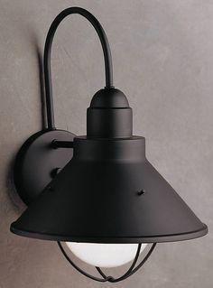 14 Inchh Seaside 1 Light Outdoor Wall Lantern Black