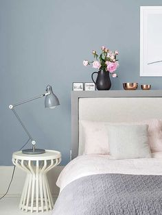 Bedroom : Inspirations Ideas Design Color 2018 Color Of The Year Interior Paint Bedroom Paint Colors Room Colors' Paint Ideas For Bedrooms' Home Paint Colors and Bedrooms Bedroom Wall Colors, Bedroom Color Schemes, Home Decor Bedroom, Decor Room, Bedroom Retreat, Bedroom Chair, Colour Schemes, Blue Feature Wall Bedroom, Calming Bedroom Colors