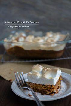 Butterscotch Pumpkin Pie Squares www.budgetgourmetmom.com #pumpkin #dessert #baking