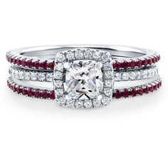 BERRICLE Sterling Silver Cushion CZ Halo Engagement Ring Set 1.14... ($114) ❤ liked on Polyvore featuring jewelry, rings, 3 piece ring set, ruby, temporary, women's accessories, fake wedding rings, anniversary rings, cubic zirconia engagement rings and sterling silver wedding rings