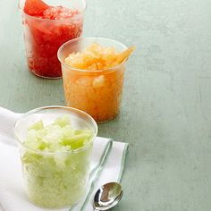 Refreshingly simple, these summer fruit granitas are flavored with nothing but a little sugar and fresh herbs. Making them a perfect low-calorie way to enjoy fruit this summer.  Recipe: Watermelon, Honeydew, and Cantaloupe Granitas Related: 10 Next-Level Boozy Granitas   - Delish.com
