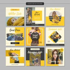 Yellow fashion social media post template www. - Yellow fashion social media post template www. Instagram Design, Instagram Feed Layout, Instagram Grid, Instagram Post Template, Free Instagram, Social Media Branding, Social Media Banner, Social Media Template, Social Media Graphics