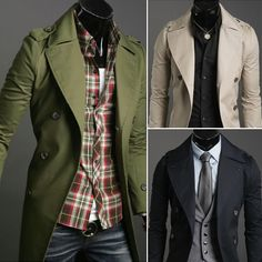 New 2016 Fashion Mens Jackets Elegant Casual Slim Trench Coat Men Solid Double Breasted Long Design Coat Beige Army Black