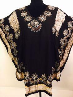 Women Black Silver Floral Embroidered Batik Tunic Dress Kaftan Style Top   | eBay