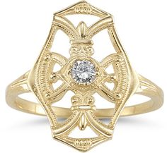 ApplesofGold.com - Vintage Diamond Cross Fleur-De-Lis Ring, 14K Yellow Gold