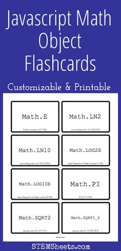 Javascript Math Object Flashcards - Customizable and Printable