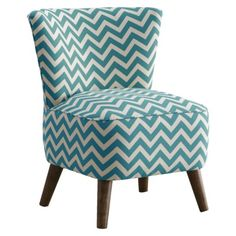 Mid Century Modern Chair Zig Zag - Turquoise/White.Opens in a new window
