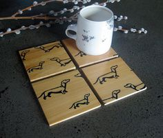 from here to there Dachshund Coasters in by nicandthenewfie, $20.00