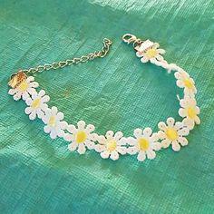 New daisy flower crochet ankle bracelet New daisy crochet ankle bracelet can also be used as regular bracelet adjustable Jewelry