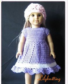 PATTERN in PDF crocheted doll dress fits American by LilyKnitting, $7.99