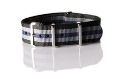 NATO Regimental Strap Black, Gray and Blue
