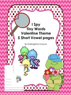 I Spy Tiny Words Valentine Theme - 5 Short Vowel Pages.  Your students will love using a magnifying glass to find the hidden words in the picture. Students get reading and writing practice as they write the words on the recording sheet. I have added some writing lines at the bottom of the recording sheet as a challenge to have students use some of the words to write a sentence.