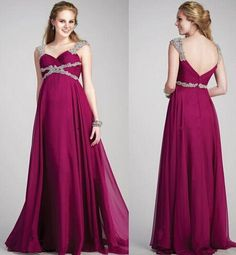 Maxi Dress Fuchsia Purple Plus Size Maternity Long Evening Dresses 2016 A Line Crystal Beads Arabic Elie Saab Chiffon Formal Party Gowns Evening Dresses From Rieshaneeawedding, $113.09  Dhgate.Com
