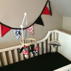 Handmade Boston Terrier & Toadstool mobile & bunting from Juli!