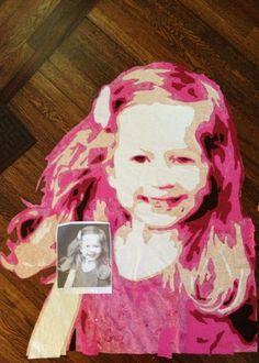 Rachael Rabbit: My First Portrait Quilt - in progress.