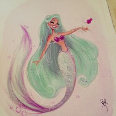 ♥Mint Mermie! ♥ Gouache on Arches Watercolor paper. Final painting and a couple of work-in-progress shots.
