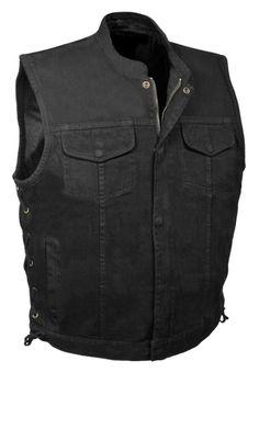 Mens Plain Side Basic Denim Vest MILWAUKEE PERFORMANCE Black, Small