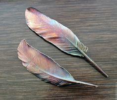 Купить Брошки-перышки Принесенные ветром, медные - бордовый, медный, гальваника, перышко, легче ветра